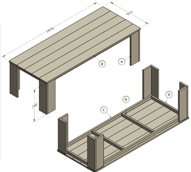 bouwtekening steigerhouten tafel maken