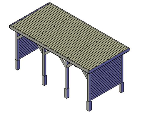 bouwtekening Overkapping met zijwanden