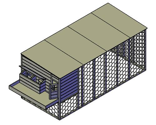 Kippenhok met ren bouwtekening