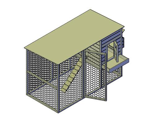 Kippenren met hok bouwtekening