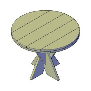 Kruispoot tafel rond