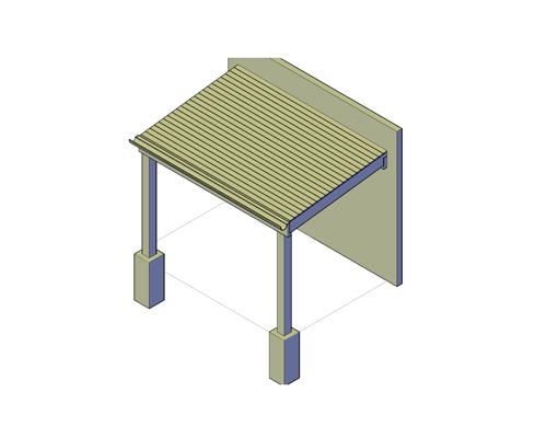 Veranda met schuin dak klein